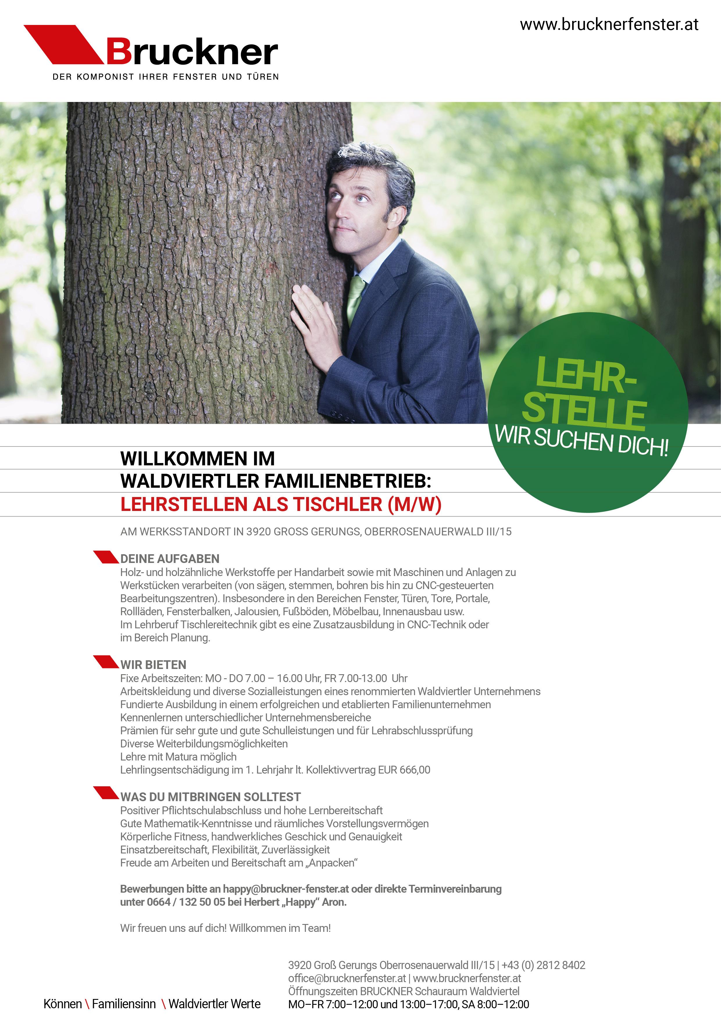 Bruckner Fenster und Türen GmbH Lehrstelle Lehrling